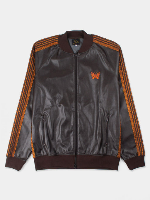 track jacket, synthetic leather, brown, lame stripes, butterfly patch, needles