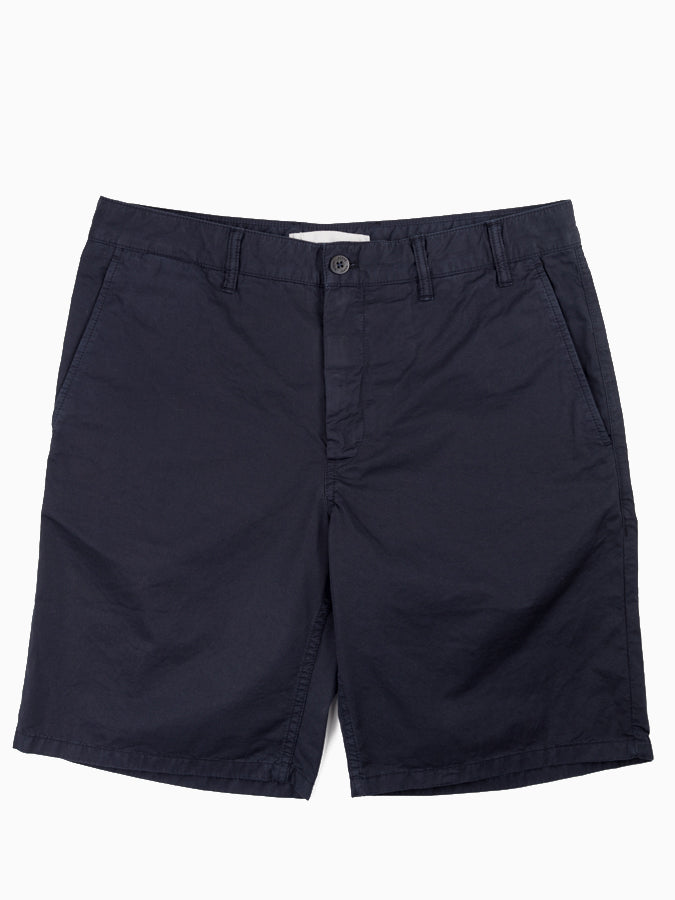 Slim fit mens casual chino short in Navy from Norse Projects