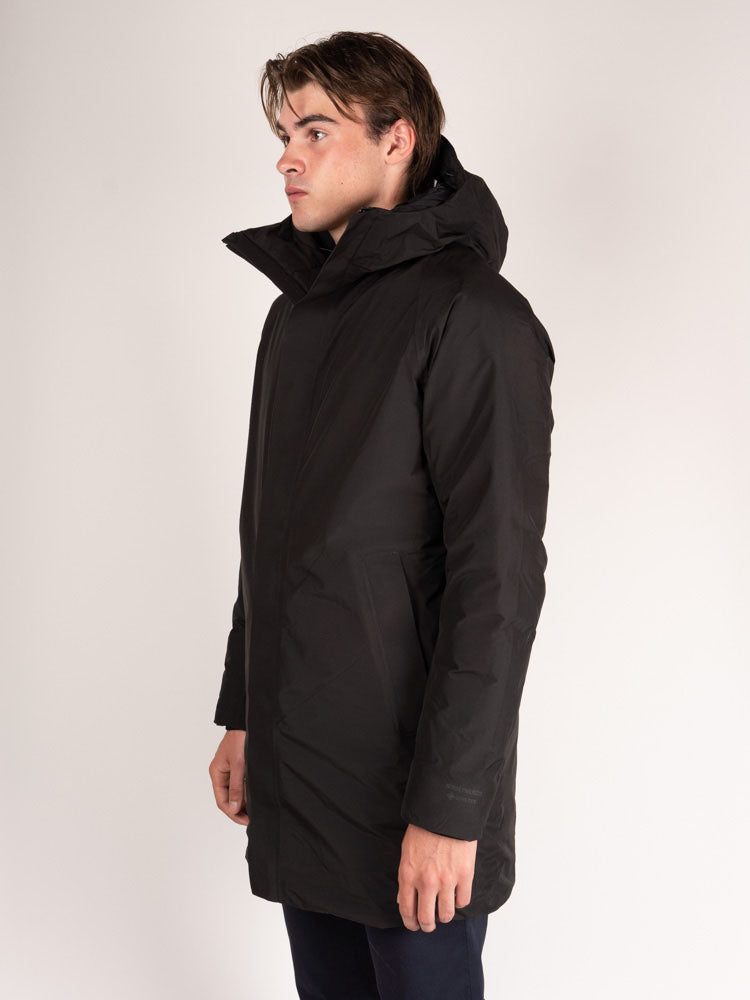 jacket on model, side view