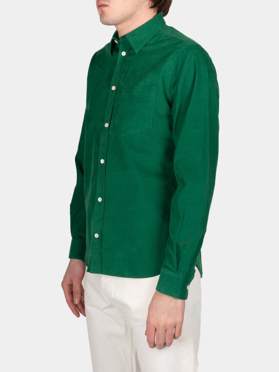 Osvald Corduroy, sporting green, norse projects, on model side view
