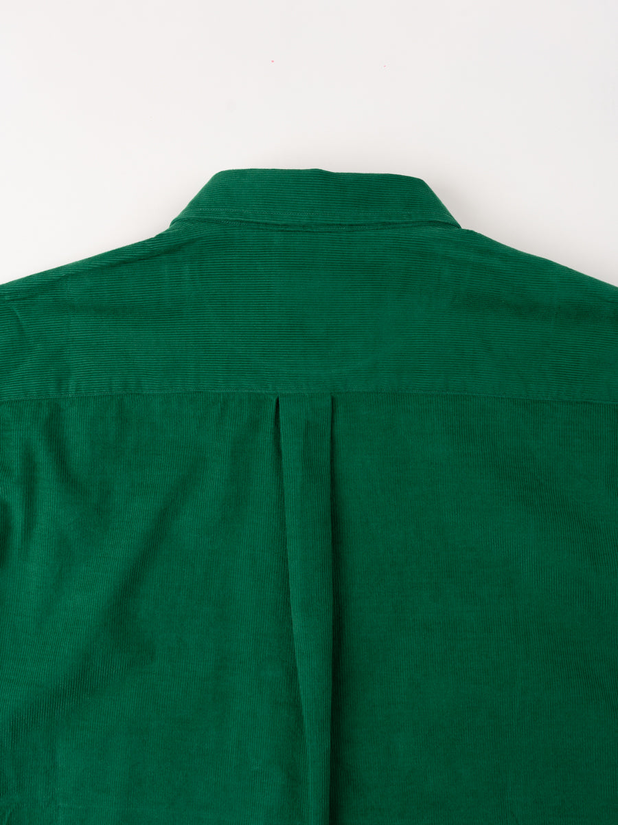 Osvald Corduroy, sporting green, norse projects, back collar detail