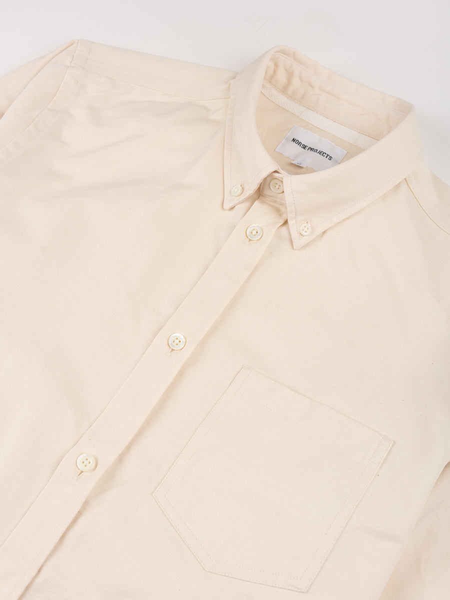 anton oxford, denim, ecru, norse projects, collar detail