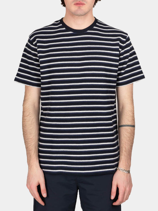 Johannes Jacquard Stripe, t-shirt, twilight blue, norse projects, on model front view