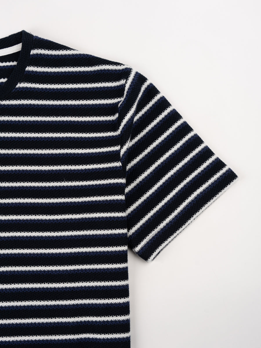 Johannes Jacquard Stripe, t-shirt, twilight blue, norse projects, short sleeve detail
