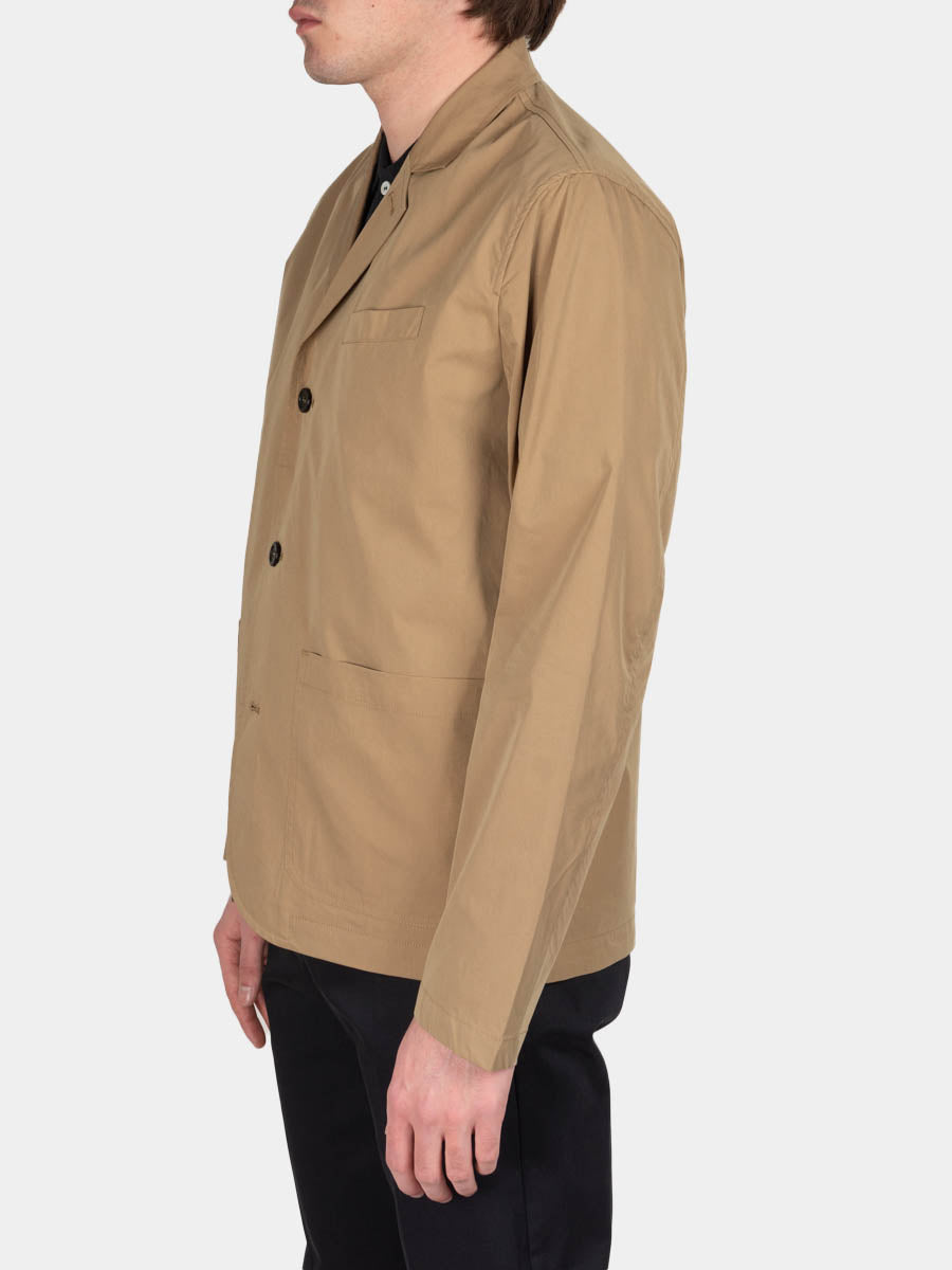 lars packable jacket, utility khaki, norse projects, on model side view