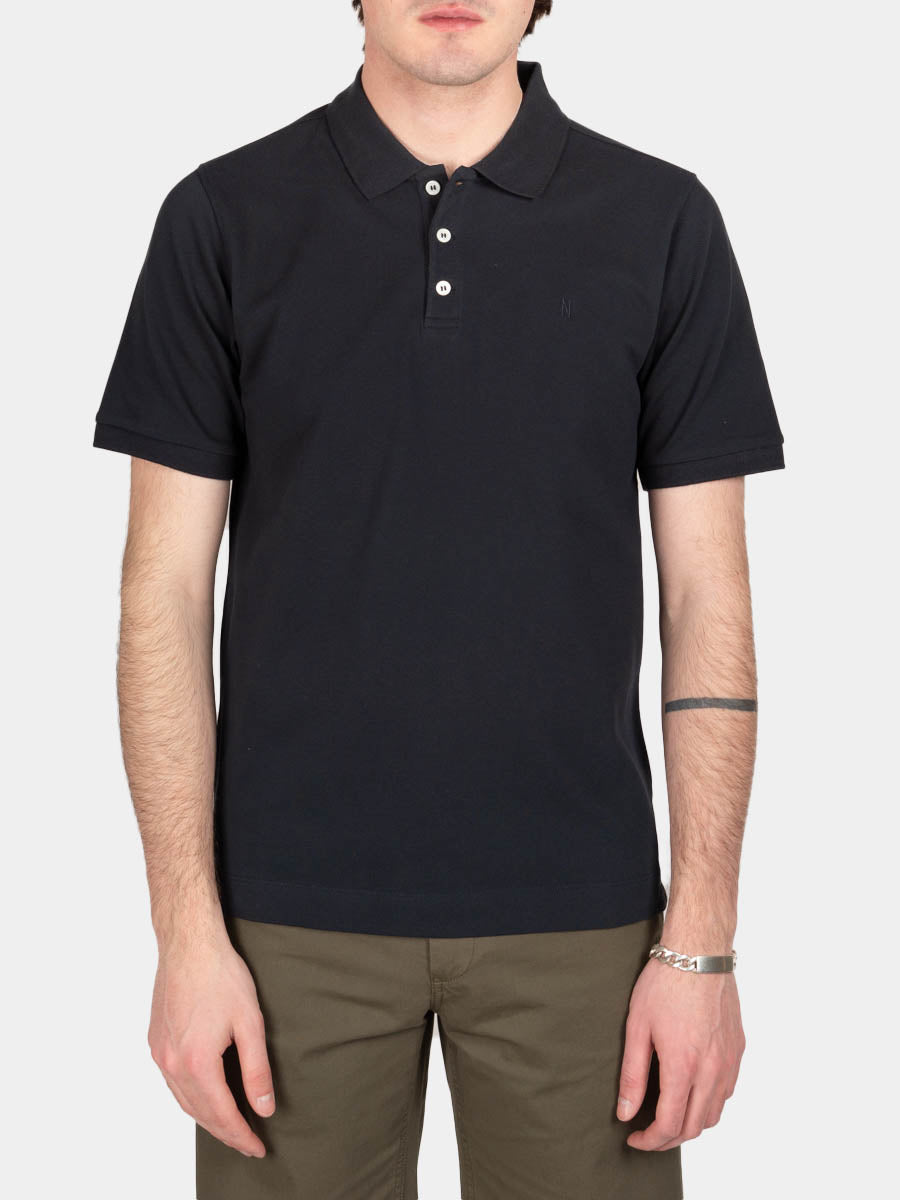 theis coolmax pique, polo, dark navy, norse projects, on model front view