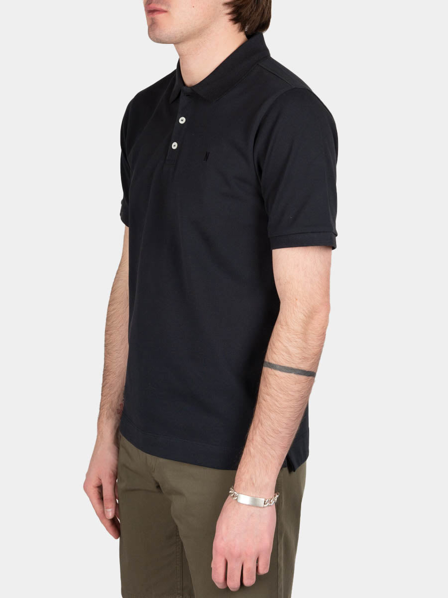 theis coolmax pique, polo, dark navy, norse projects, on model side view
