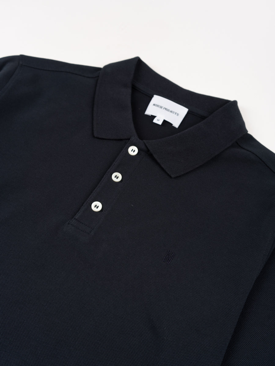 theis coolmax pique, polo, dark navy, norse projects, front collar detail