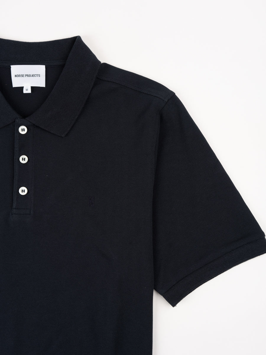theis coolmax pique, polo, dark navy, norse projects, short sleeve detail