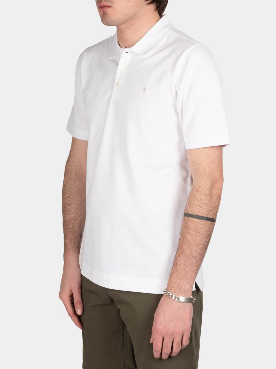theis coolmax pique, polo, white, norse projects, on model side