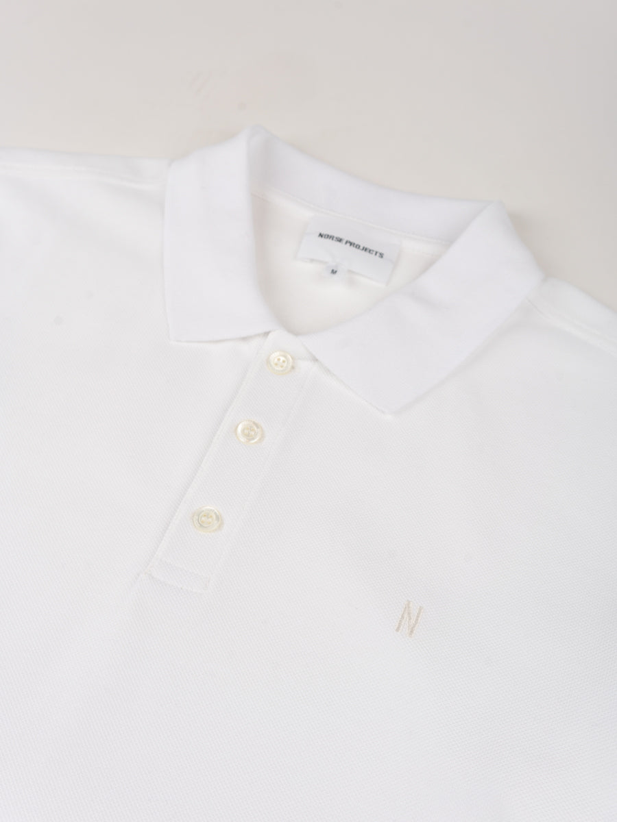 theis coolmax pique, polo, white, norse projects, front collar