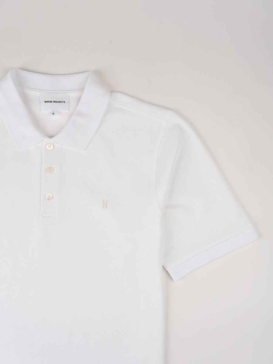 theis coolmax pique, polo, white, norse projects, collar and short sleeve