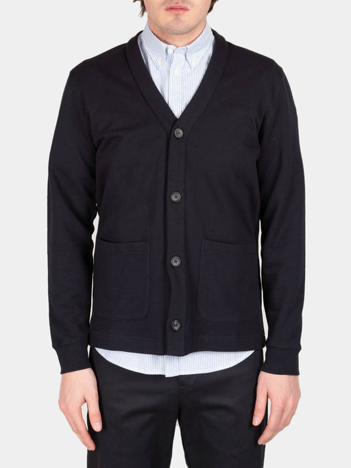 Vidar sweat cardigan, dark navy, norse projects, on model front