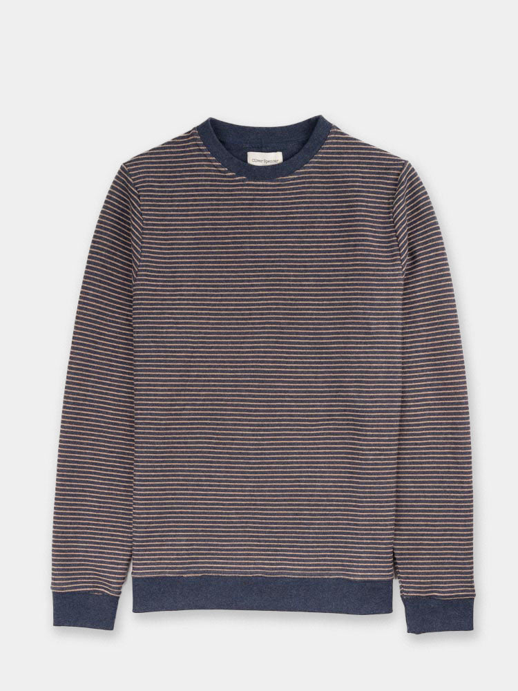 Robin crew neck shirt, navy and beige, oliver spencer, front view