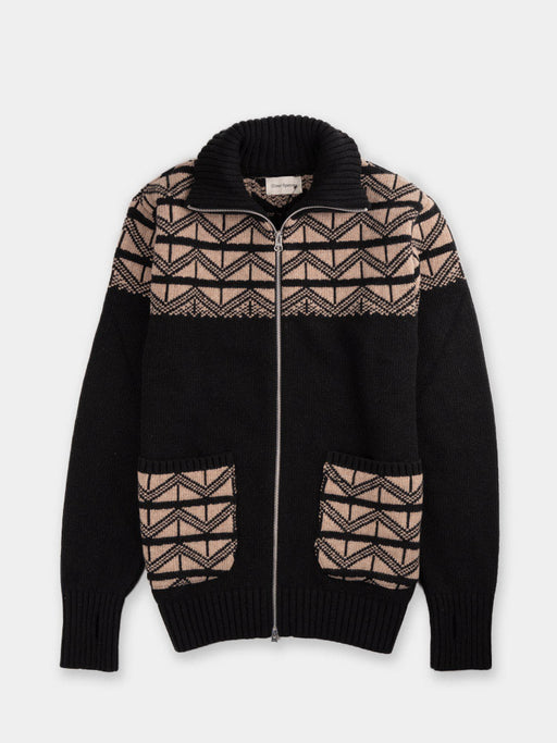zip through cardigan, oliver spencer, black