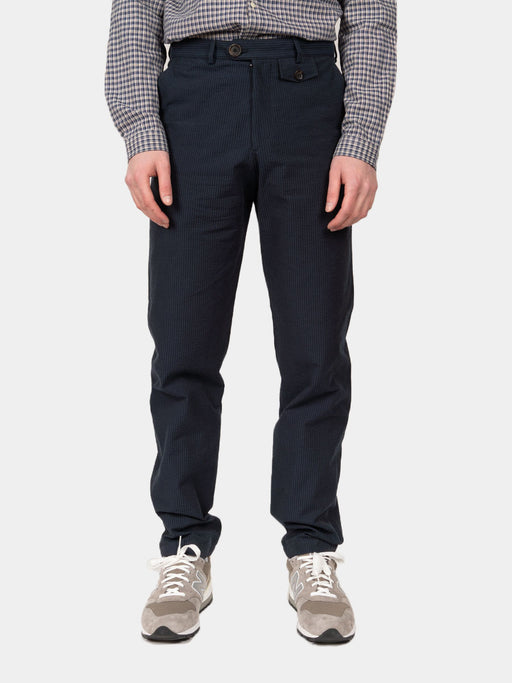 fishtail trouser, vyne navy, oliver spencer, on model front view