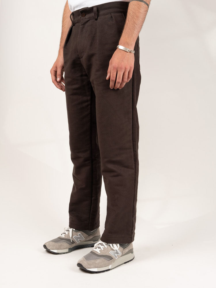 Double Pleat Pant Brown