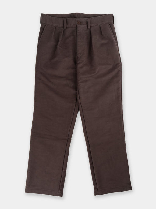 double pleat pant, brown moleskin, paa, front view