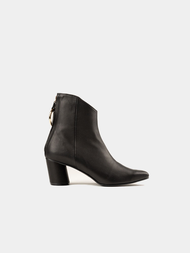 Oblique Turnover Ring Boots Black