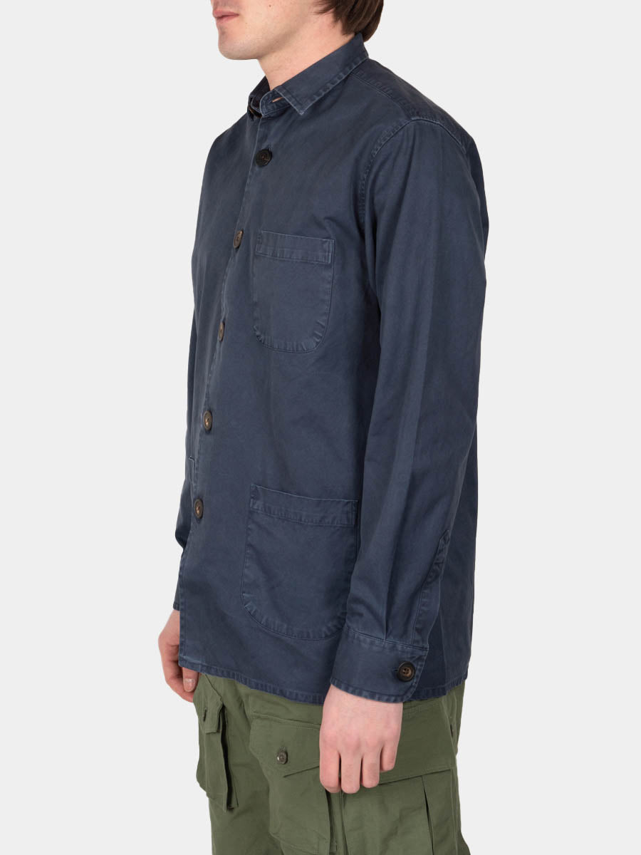 Overshirt overdyed one, dark blue, shcnayderman's, on model side veiw