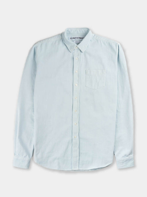 denim shirt, button under, bleached blue, schnayderman's