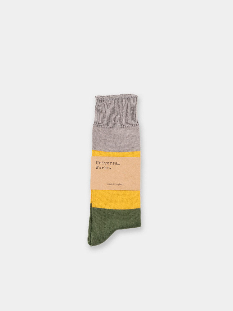 bold stripe sock, grey,  gold, universal works, front view