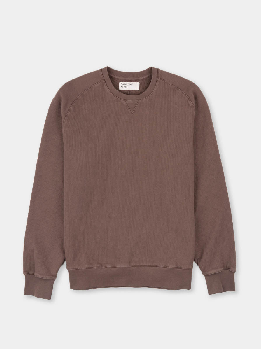 Classic crew sweatshirt, raisin, dry handle loopback, universal works, front view