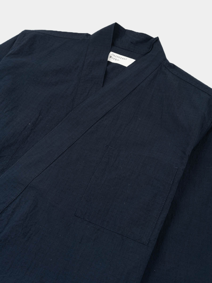 kyoto work jacket, navy, ripstop cotton, universal works, front collar view