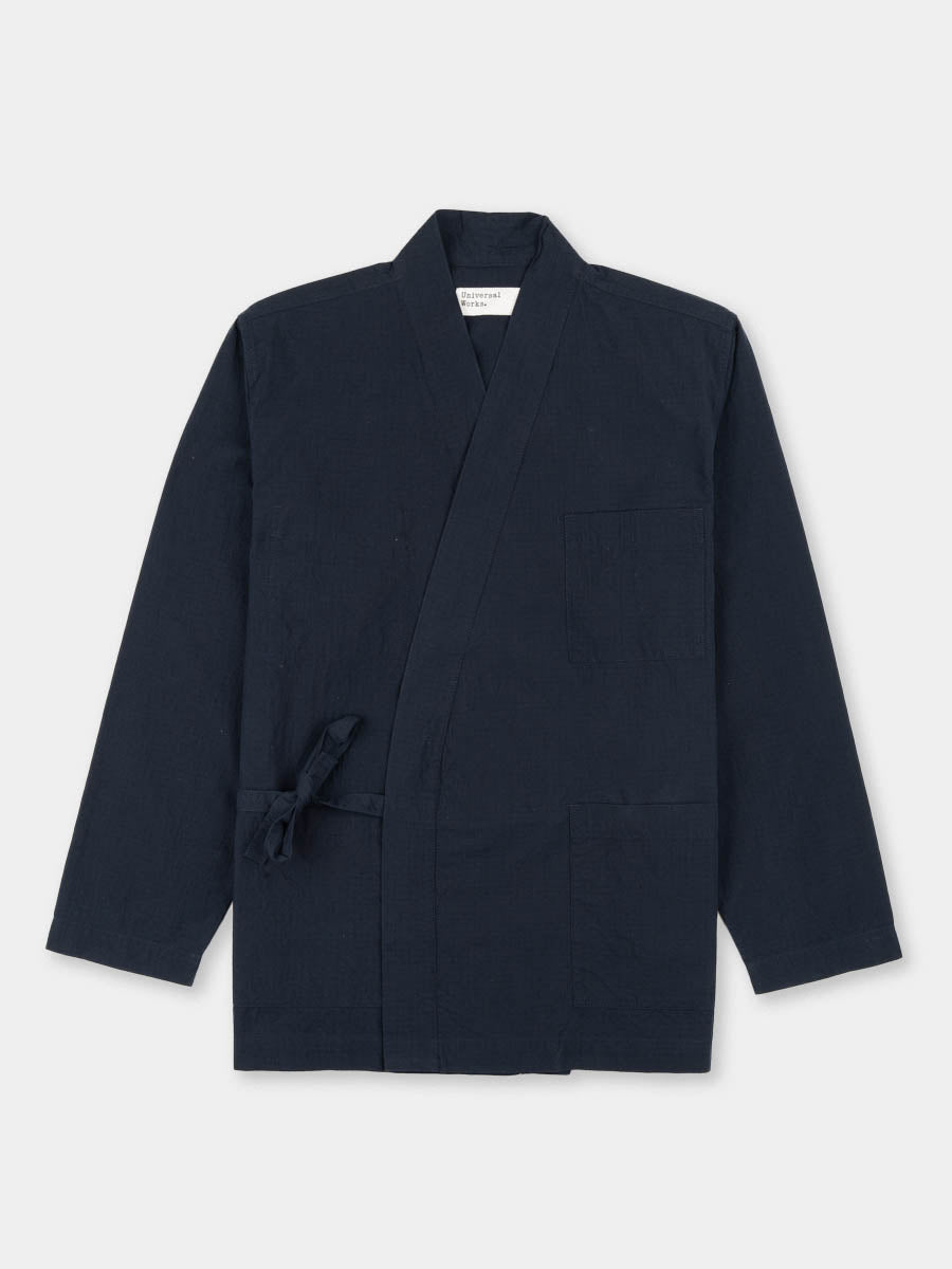 kyoto work jacket, navy, ripstop cotton, universal works, front view