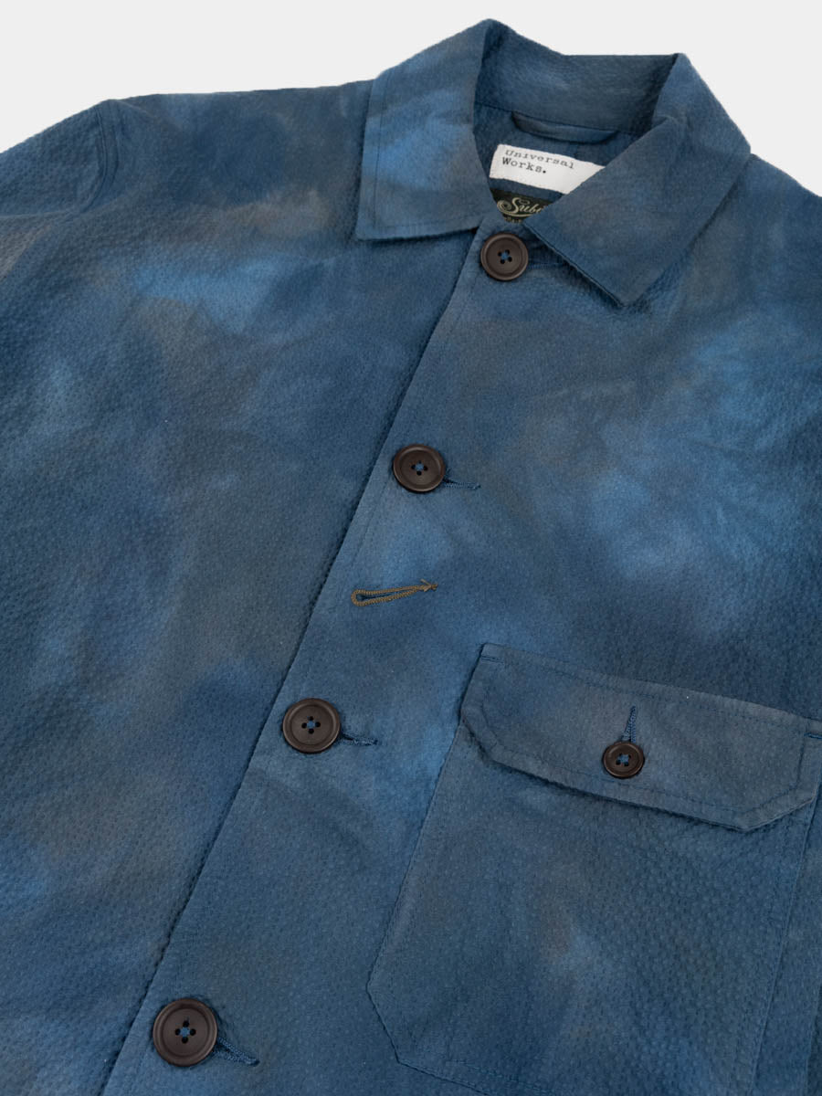norfolk bakers jacket, blue, space dye, universal works, front pocket and collar