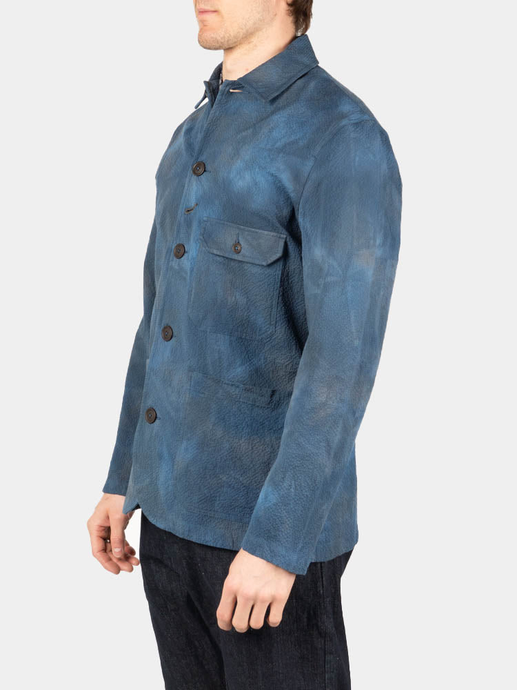 Norfolk Bakers Jacket Blue Space Dye Suiting