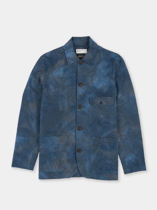norfolk bakers jacket, blue, space dye, universal works, front view