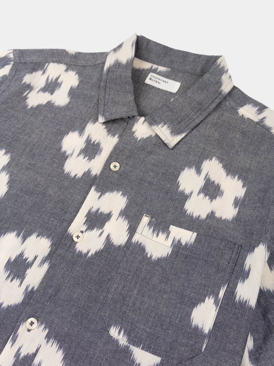 road shirt, grey, ikat flower, universal works, front pocket detail