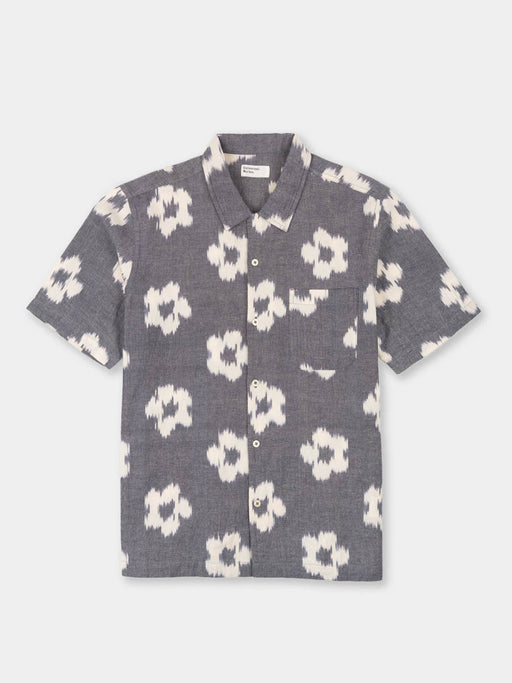 road shirt, grey, ikat flower, universal works, front view