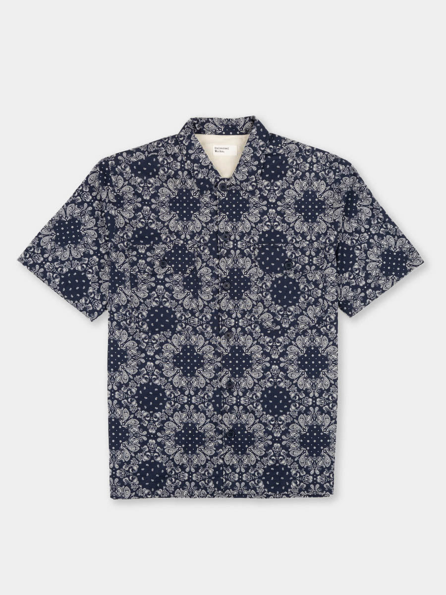 utility shirt, short sleeve, navy, bandana cotton, universal works