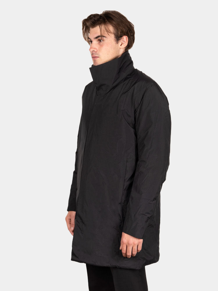 euler IS coat, black, veilance, on model side view