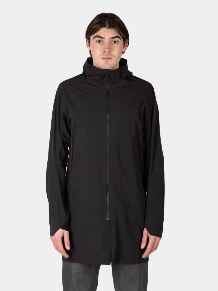 apsis coat, black, veilance, on model front view
