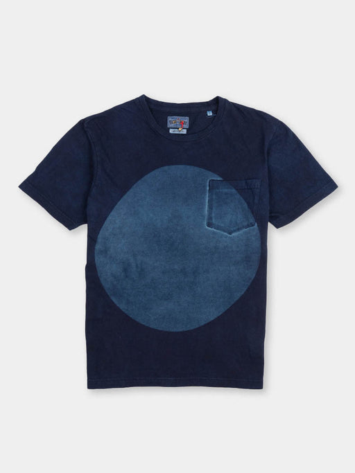hand dyed, big circle, cotton tee, short sleeve, indigo, blue blue japan