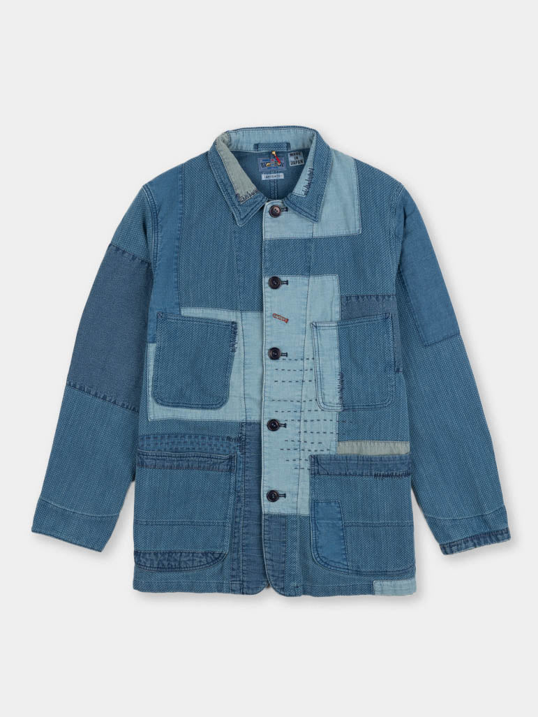 indigo yard dyed, sashiko, blue patchwork, coverall jacket, blue blue japan