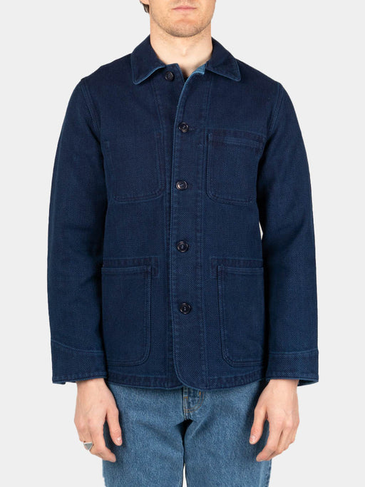 pure indigo, sashiko, used washed, coverall jacket, blue blue japan, on model front view