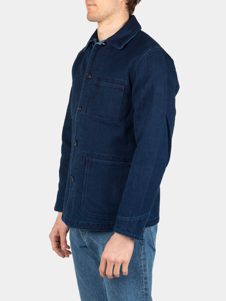 pure indigo, sashiko, used washed, coverall jacket, blue blue japan, on model side view