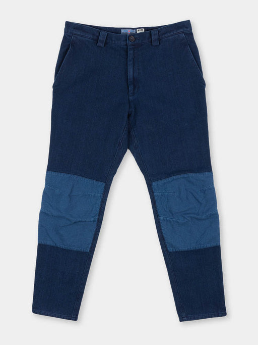 sashiko, knee patch farmers pants, pure indigo, blue blue japan
