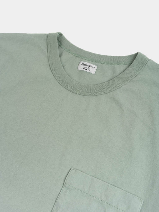 dads pocket tee, pine face, ribbed collar