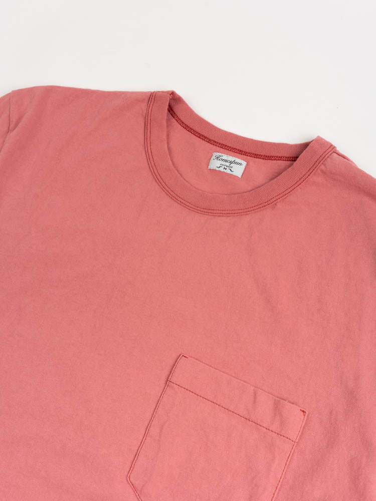 dads pocket tee, red fade, homespun, chest pocket