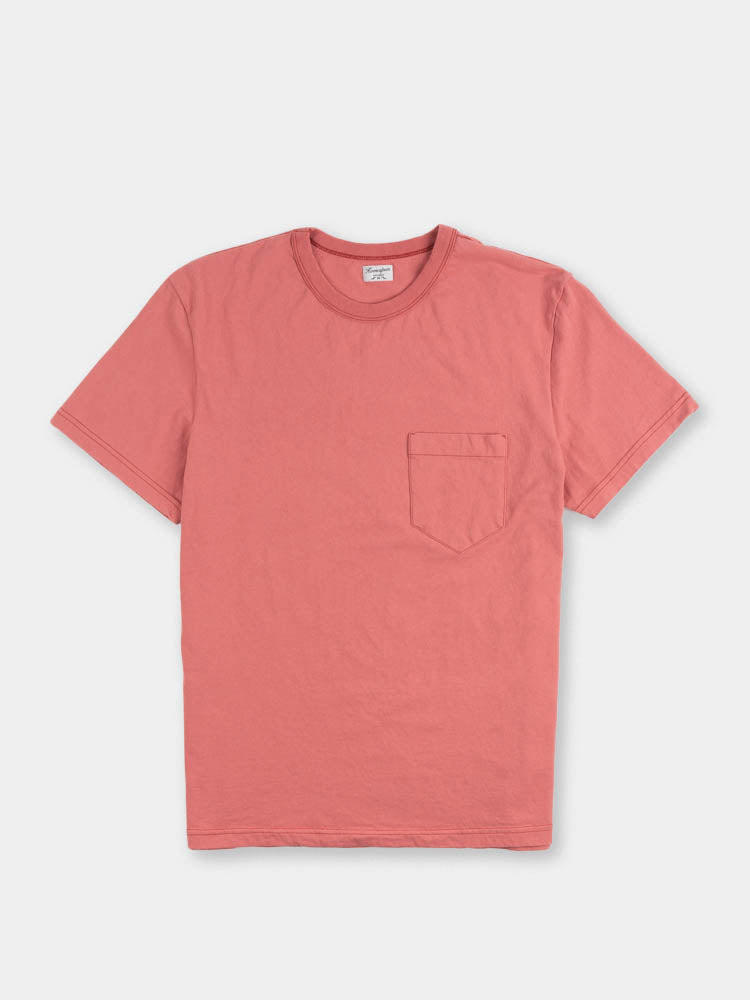 dads pocket tee, red fade, front view