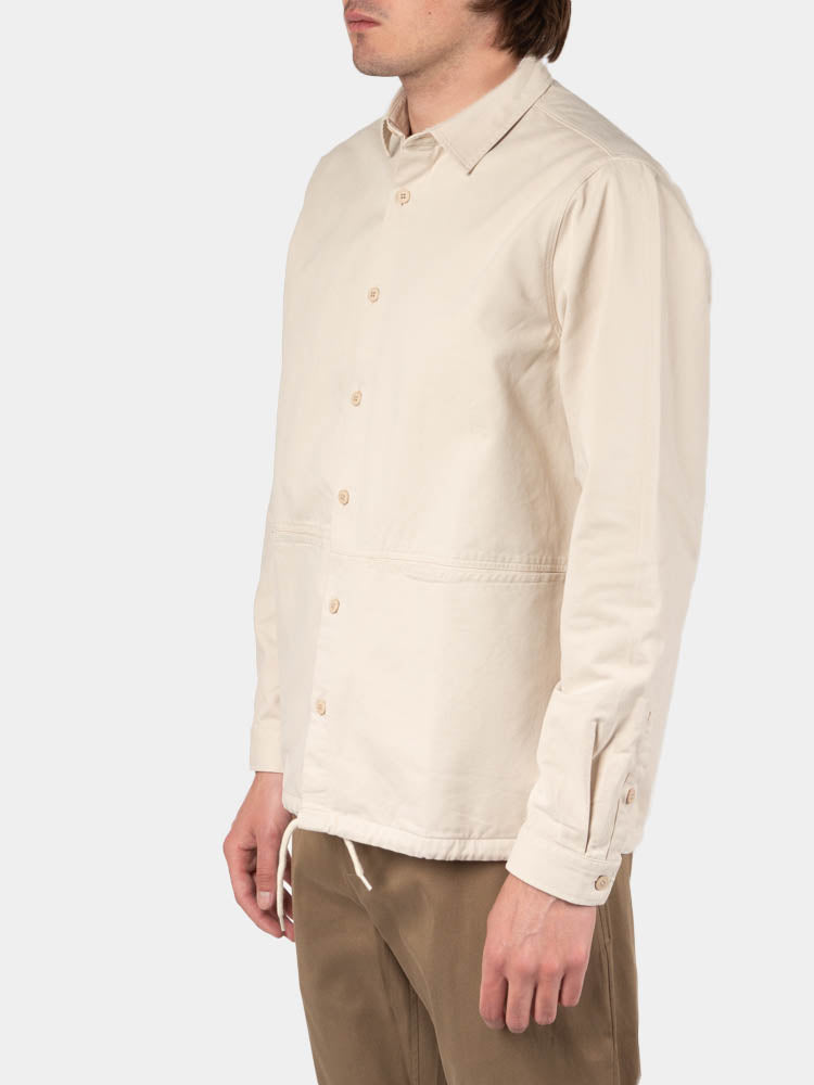 armadale overshirt, off white, kestin, on model side view