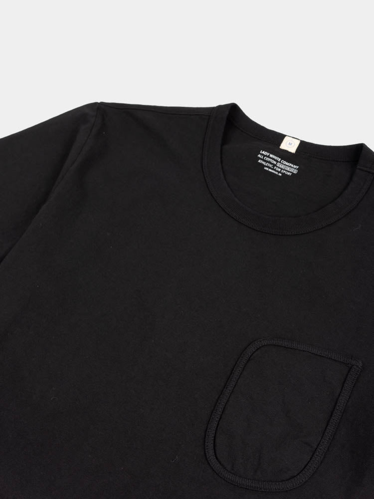 clark pocket t-shirt, black, lady white co, collar and pocket detail
