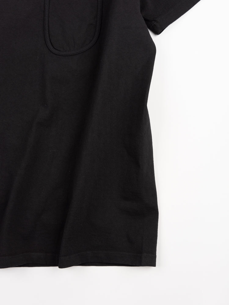 clark pocket t-shirt, black, lady white co, fabric texture detail