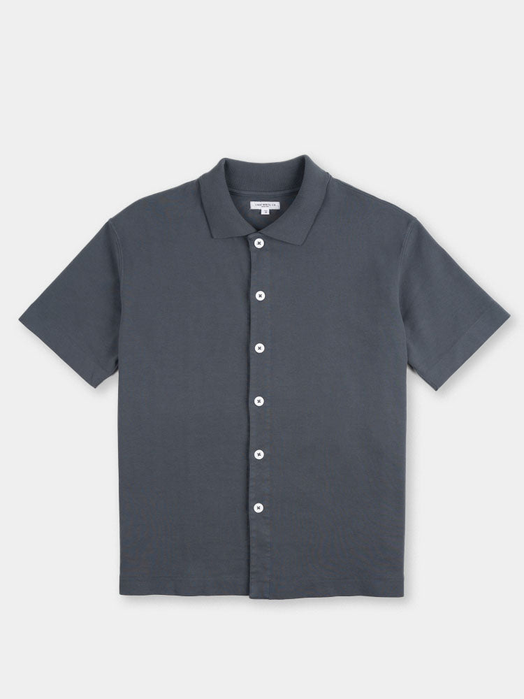 s/s placket polo, night grey, lady white co