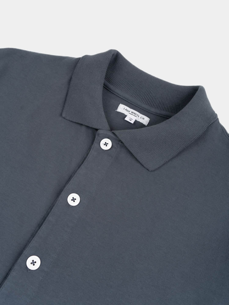 s/s placket polo, night grey, lady white co, collar and buttons